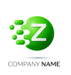 Z letter splash logo green dots and circle bubble vector