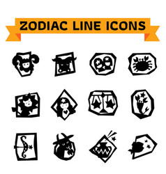 zodiac line icons vector image