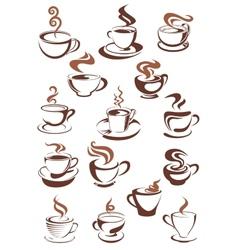 Brown cups of coffee cappuccino espresso latte or vector image vector image