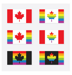 canada rainbow pride flags set icons with shadow vector image