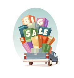 Heap of boxes on pickup with Big Sale text vector image vector image