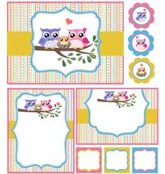 baby shower bird card set vector image vector image