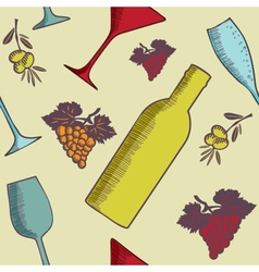 Background with wine bottles and glasses vector image vector image
