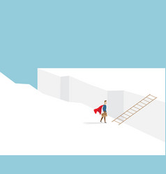businessman standing at cliff with ladder vector image vector image