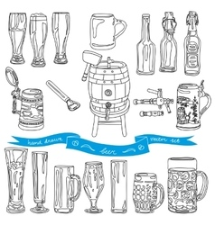 collection of beer glasses and bottles vector image vector image