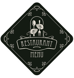 menu for restaurant with cutlery in hands vector image vector image