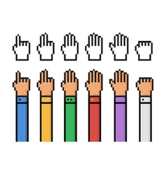 Set of pixel hand count from 0 to 5 - isolated vector image