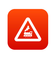 warning sign railway crossing without barrier icon vector image