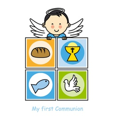 Boy First Communion card vector image