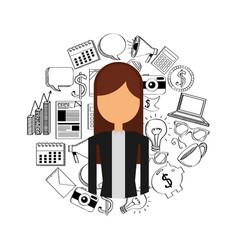 Business person with social marketing icons vector