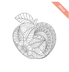 Cartoon ornate apple coloring book vector