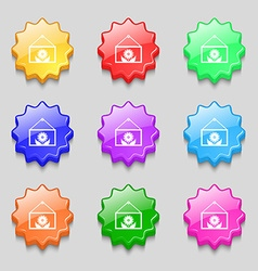 Frame with flower icon sign symbols on nine wavy vector