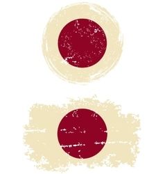 Japanese round and square grunge flags vector image vector image
