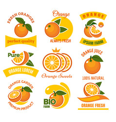 orange products emblems set vector image vector image