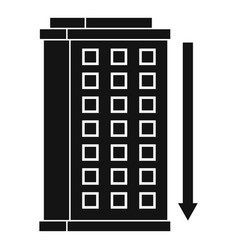 tall building and down arrow icon simple style vector image