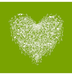 White floral heart shape on green vector image