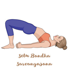Women silhouette bridge yoga pose setu bandha vector
