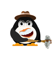 abstract evil penguin with hat and primitive vector image