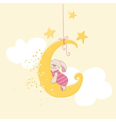 Baby Shower or Arrival Card - Sleeping Baby Bunny vector image vector image