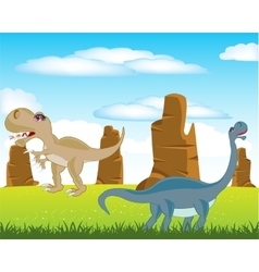 Dinosaurs on meadow vector image
