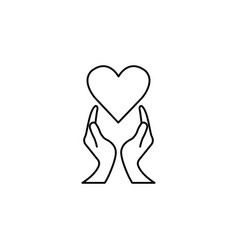 heart with hands line icon healtcare sign vector image
