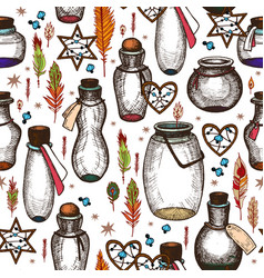 magic seamless pattern with glass flasks vector image