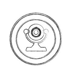 monochrome sketch of desktop webcam in circular vector image