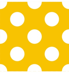 Seamless yellow pattern with white polka dots vector image vector image