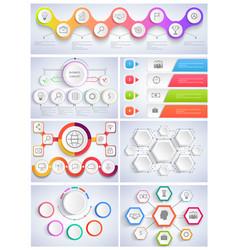 set infographics flat design vector image