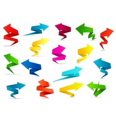 Twisted arrow banners in origami style vector image vector image