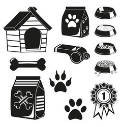 13 black and white pet care elements silhouette vector image