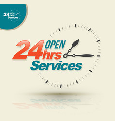 24 hours open services vector
