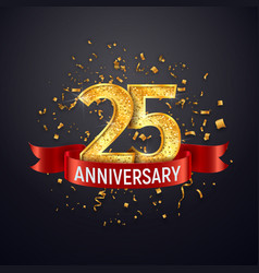 25 years anniversary logo template on dark vector image