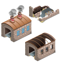 abandoned ruins of old looted factory isolated vector image