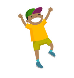 African-american boy jumping with raised hands up vector
