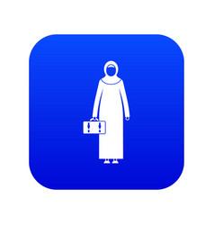 Arabic woman icon digital blue vector