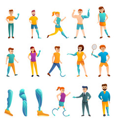 Artificial limbs icons set cartoon style vector