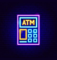 Atm neon sign vector