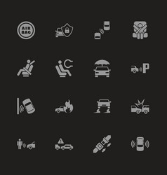 Auto safety - flat icons vector