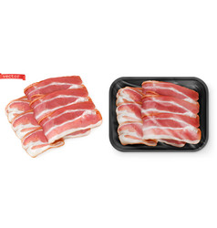 Bacon meat in package food 3d realistic vector