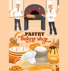 Bakers with bread baguette pizza cake and oven vector