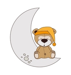 Bear moon sleep design isolated vector