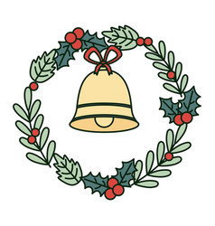 bell wreath holly berry celebration merry vector image
