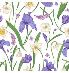 botanical seamless pattern with seasonal blooming vector image