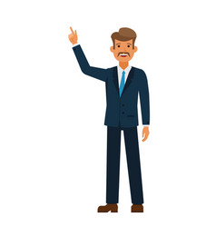 businessman pointing finger up cartoon flat vector image