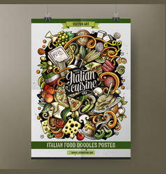 Cartoon hand drawn doodles italian food poster vector