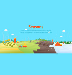 cartoon seasons landscape background card poster vector image