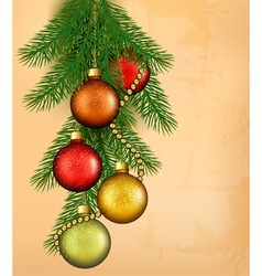 Christmas retro background with balls and fir vector image