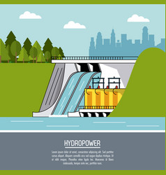 color landscape background hydropower plant vector image