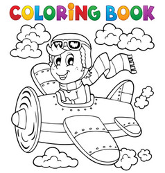 coloring book airplane theme 1 vector image